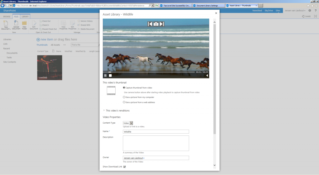 The upload video screen shows the option to select a thumbnail directly from video, image or web address.