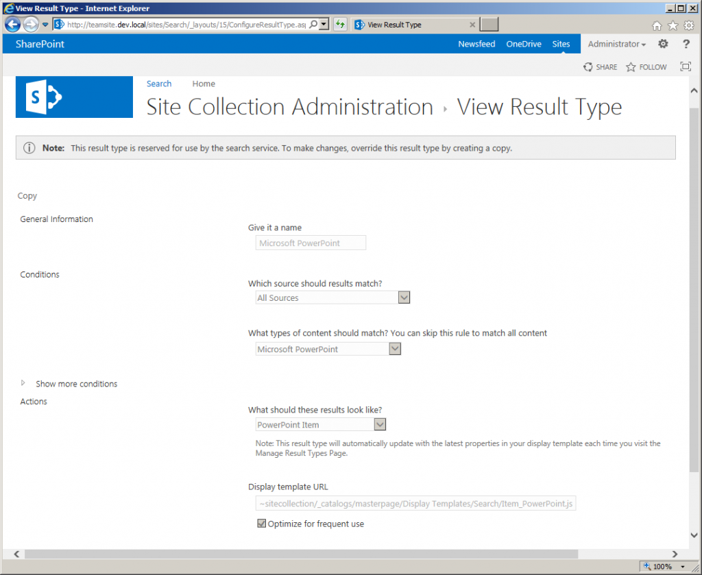 View Result Type page